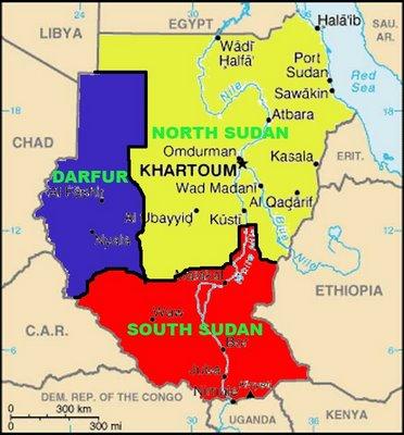 Sudan divided three in Darfur- Sud sudan , and North sudan